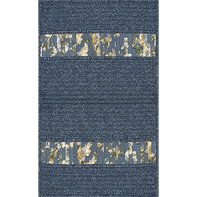 AMS Imports Denim Floral 9 x 12 Denim Floral Blue Ribbon Area Rugs