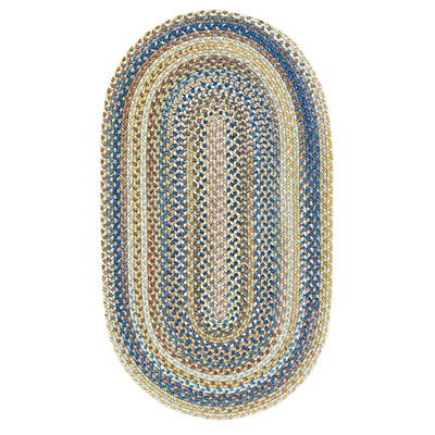 Capel Rugs Kill Devil Hill 5 ft round Natural Blue Area Rugs