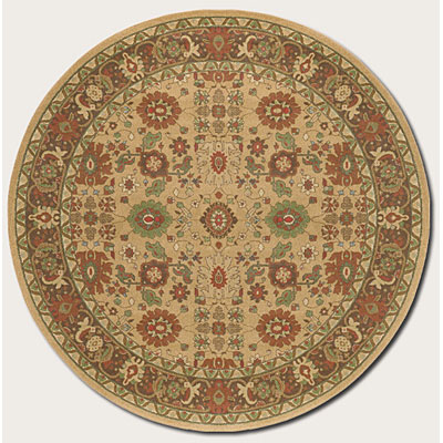 Couristan Pera 8 Round All Over Mashhad Fawn Chocolate Area Rugs