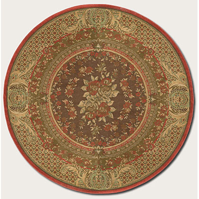 Couristan Pera 8 Round Mohul Bouquet Chocolate Sage Area Rugs