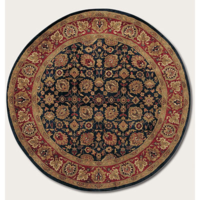 Couristan Shiraz 6 Round All Over Floral Midnight Blue Area Rugs