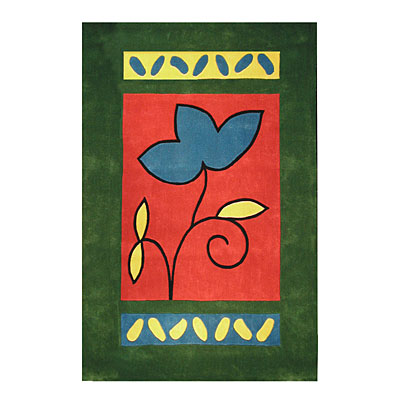 Nejad Rugs The Bright Collection 4 x 6 A Single Flower Emerald/Rose Area Rugs