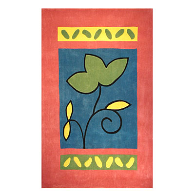 Nejad Rugs The Bright Collection 4 x 6 A Single Flower Rose/Blue Area Rugs