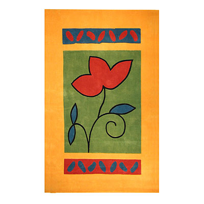 Nejad Rugs The Bright Collection 5 x 8 A Single Flower Yellow/Green Area Rugs