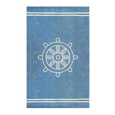 Nejad Rugs Ship Wheel 5 x 8 LIGHT BLUE Area Rugs