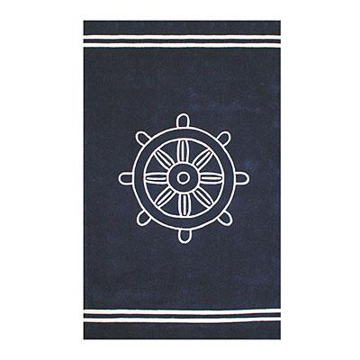 Nejad Rugs Ship Wheel 5 x 8 NAVY Area Rugs