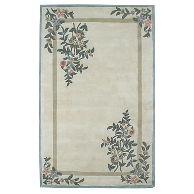 Nejad Rugs Floral Garden 10 x 14 Floral Corners Ivory/Blue Area Rugs