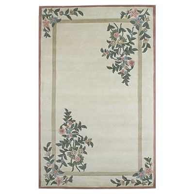 Nejad Rugs Floral Garden 9 x 12 Floral Corners Ivory/Rose Area Rugs