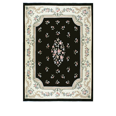 Nejad Rugs Floral Garden 10 x 14 Floral Aubuson Black/Ivory Area Rugs