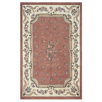 Nejad Rugs Floral Garden 12 x 18 Floral Aubuson Rose/Ivory Area Rugs