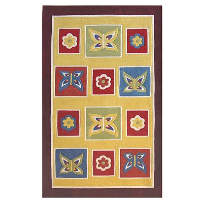 Nejad Rugs The Kids Rugs 5 X 8 Butterflies Yellow/Purple Area Rugs