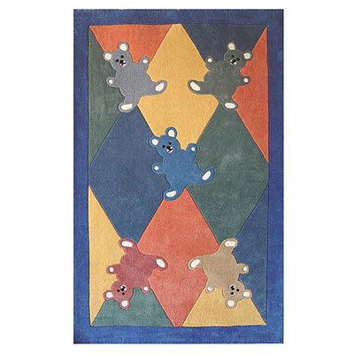 Nejad Rugs The Kids Rugs 5 X 8 Baby Bears Multi/Blue Area Rugs