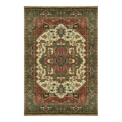 Nejad Rugs Signature Heirloom 9 X 12 Heriz Ivory Antique/Emerald Green Area Rugs