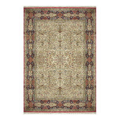 Nejad Rugs Signature Masterpiece 12 x 18 Hunt Tabriz Antique Ivory/Navy/Rust Area Rugs
