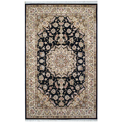 Nejad Rugs Silk & Wool 8 x 10 Tabriz Black/Ivory Area Rugs