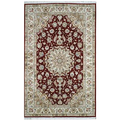 Nejad Rugs Silk & Wool 6 x 9 Tabriz Burgundy/Ivory Area Rugs