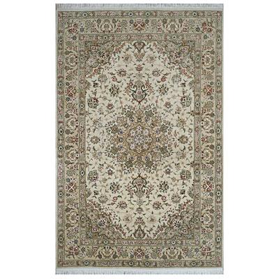 Nejad Rugs Silk & Wool 4 x 6 Tabriz Ivory/Beige Area Rugs
