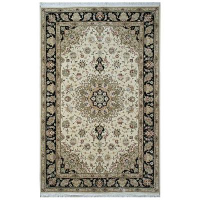 Nejad Rugs Silk & Wool 6 x 9 Tabriz Ivory/Black Area Rugs