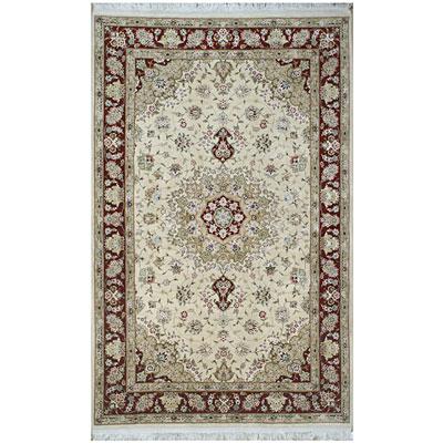 Nejad Rugs Silk & Wool 6 x 9 Tabriz Ivory/Burgundy Area Rugs