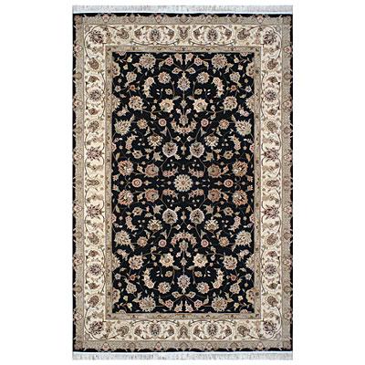 Nejad Rugs Silk & Wool 6 x 9 Tabriz Black/Ivory Area Rugs