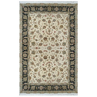 Nejad Rugs Silk & Wool 6 x 9 Tabriz Ivory/Black Area Rugs