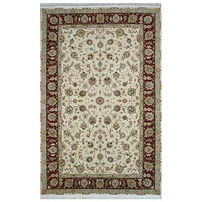 Nejad Rugs Silk & Wool 10 x 14 Tabriz Ivory/Burgundy Area Rugs