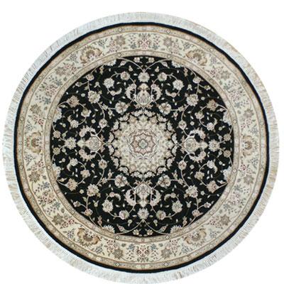 Nejad Rugs Silk & Wool 8 Round Tabriz Black/Ivory Area Rugs