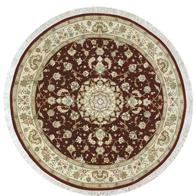 Nejad Rugs Silk & Wool 8 Round Tabriz Burgundy/Ivory Area Rugs
