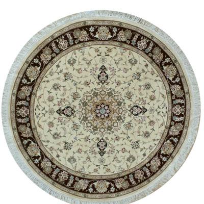 Nejad Rugs Silk & Wool 8 Round Tabriz Ivory/Black Area Rugs