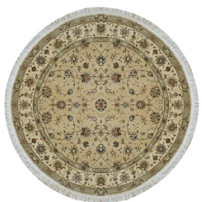 Nejad Rugs Silk & Wool 8 Round Tabriz Beige/Ivory Area Rugs