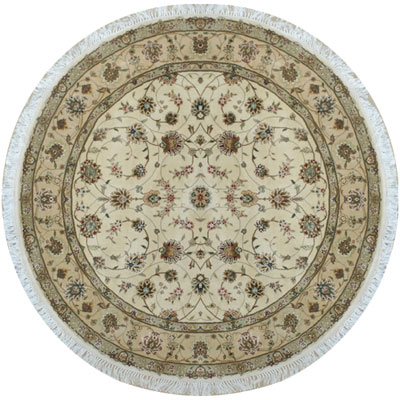 Nejad Rugs Silk & Wool 8 Round Tabriz Ivory/Beige Area Rugs