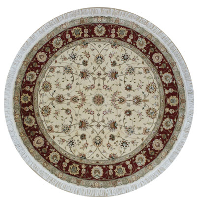 Nejad Rugs Silk & Wool 8 Round Tabriz Ivory/Burgundy Area Rugs
