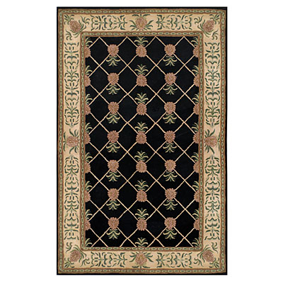 Nejad Rugs Tropical Island 10 x 14 Pineapple Garden Black/Ivory Area Rugs