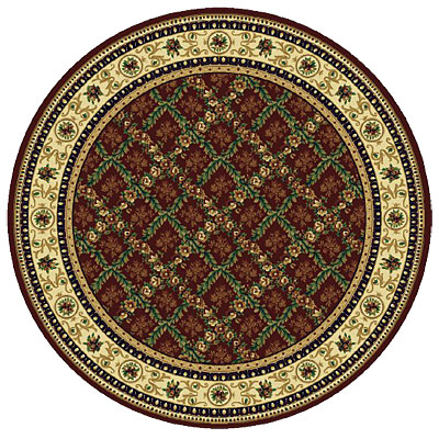 Rug One Imports Royal Bouquet 8 Round Claret Area Rugs