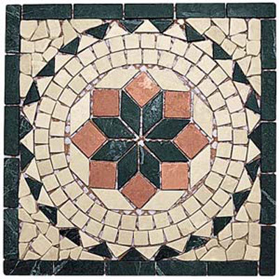 Alfagres Tumbled Marble Medallions V Selva Boticcino Rojo Tile & Stone