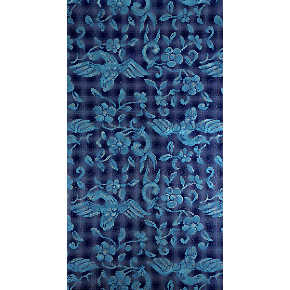 Bisazza Mosaico Decori 10 - China Birds Blue Tile & Stone