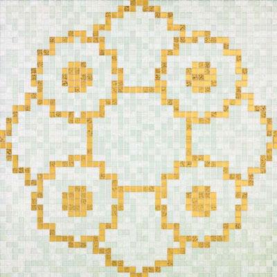 Bisazza Mosaico Decori 20 - Linear de Rosas Blanco Tile & Stone
