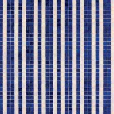 Bisazza Mosaico Decori 20 - Righe Bianco Blu Tile & Stone