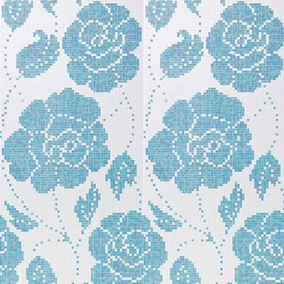 Bisazza Mosaico Decori 20 - Winter Flowers Blue Tile & Stone
