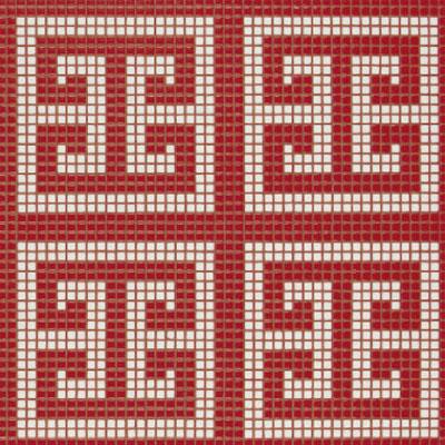 Bisazza Mosaico Decori Opus Romano - Key White Red Tile & Stone