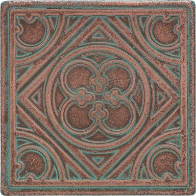 Daltile Castle Metals Aged Copper Clover Insert Tile & Stone