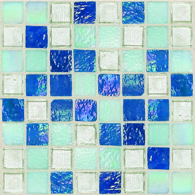 Daltile Egyptian Glass Mosaics 1 x 1 Blends Blue Pearl Mix Tile & Stone