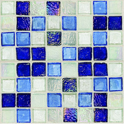 Daltile Egyptian Glass Mosaics 1 x 1 Blends Sapphire Collage Tile & Stone