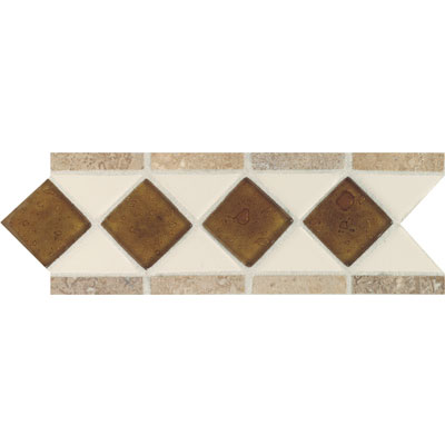 Daltile Fashion Accents Semi-Gloss w/Ocean Glass & Tumbled Stone Almond Reef Noce Tile & Stone