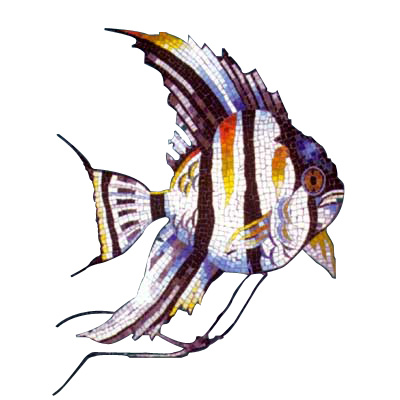Daltile Glass Mosaic Murals Angelfish 31 x 45 Tile & Stone