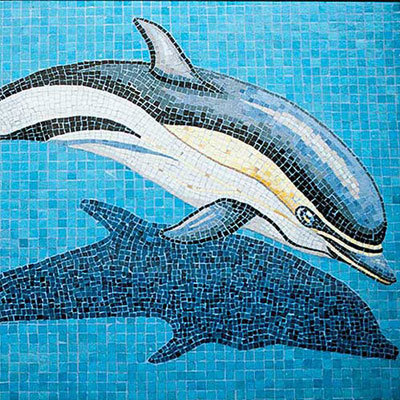 Daltile Glass Mosaic Murals Dolphin with Shadow 31 x 49 Tile & Stone