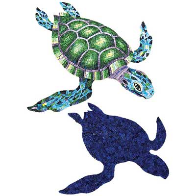 Daltile Glass Mosaic Murals Green Marine Turtle 48 x 62 Tile & Stone