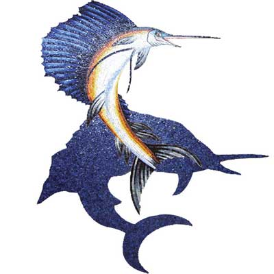 Daltile Glass Mosaic Murals Sailfish with Shadow 42 x 56 Tile & Stone