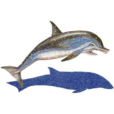 Daltile Glass Mosaic Murals Spotted Dolphin With Shadow 31 x49 Tile & Stone