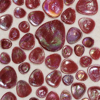 Daltile Glass Pebbles Mosaic Scarlet Iridescent Tile & Stone